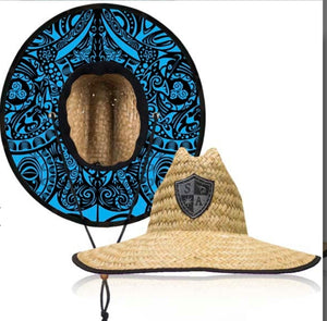 Blue Polynesian Under Brim Straw Hat