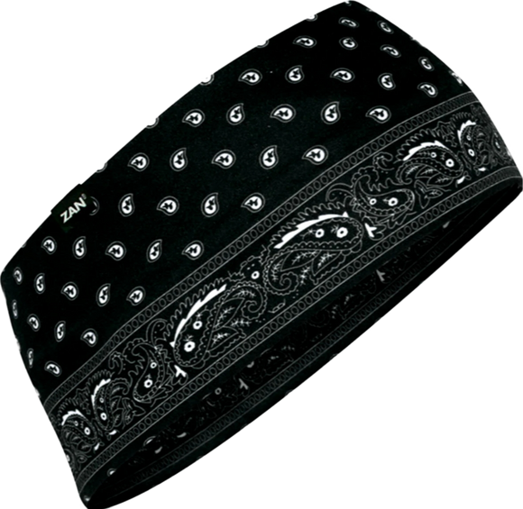 Zan Moisture Wicking Black Paisley Headband