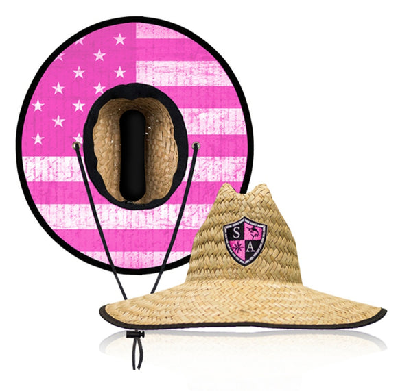Pink Flag Under Brim Straw Hat