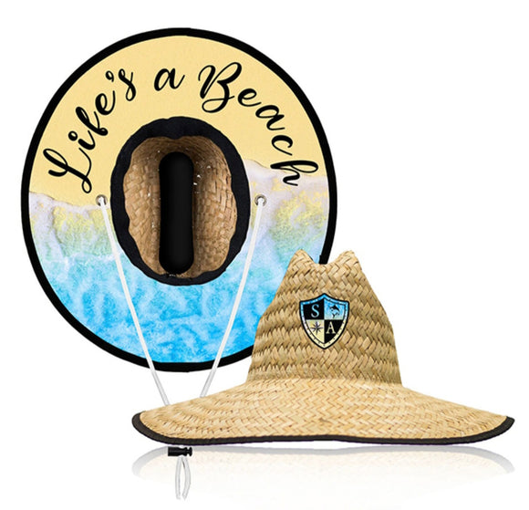 Lifes A Beach Under Brim Straw Hat