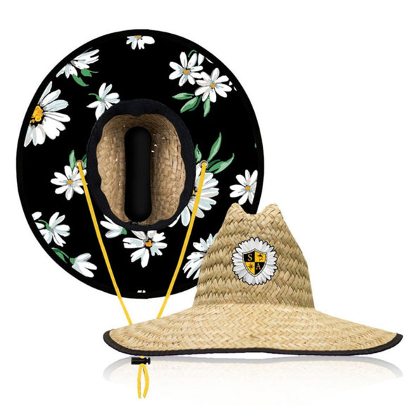 White Daisey Under Brim Straw Hat
