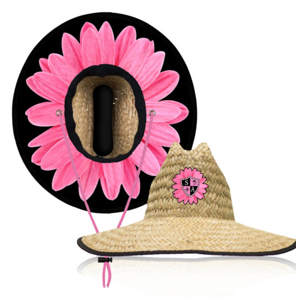 Pink Daisey Under Brim Straw Hat