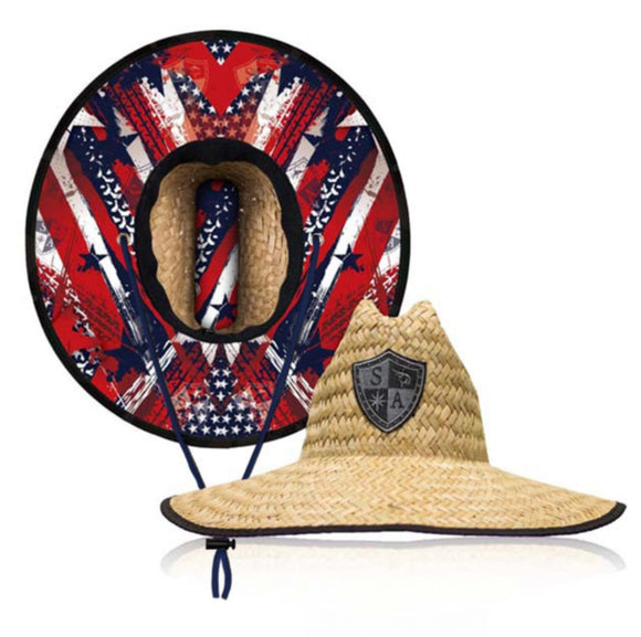USA Under Brim Straw Hat