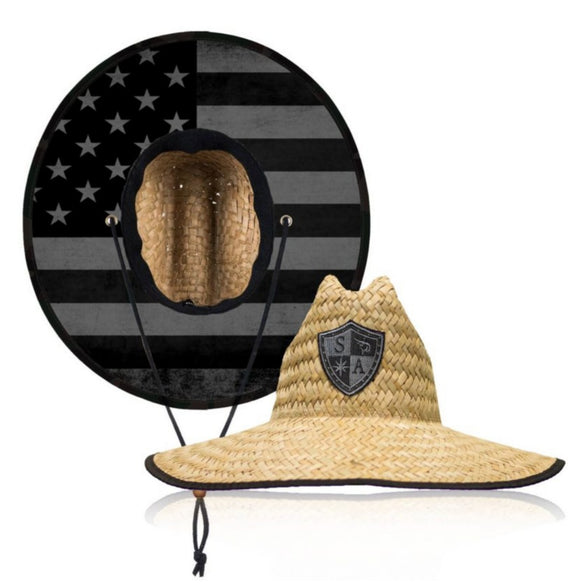 Blackout Flag Under Brim Straw Hat