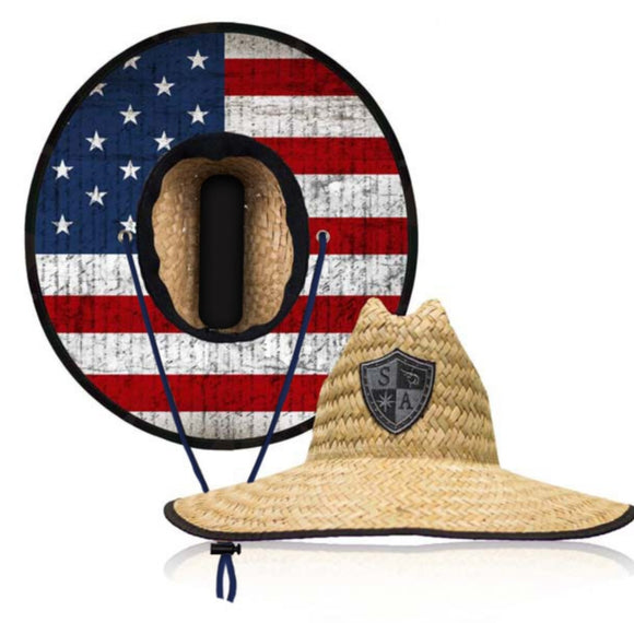 American Flag Under Brim Straw Hat