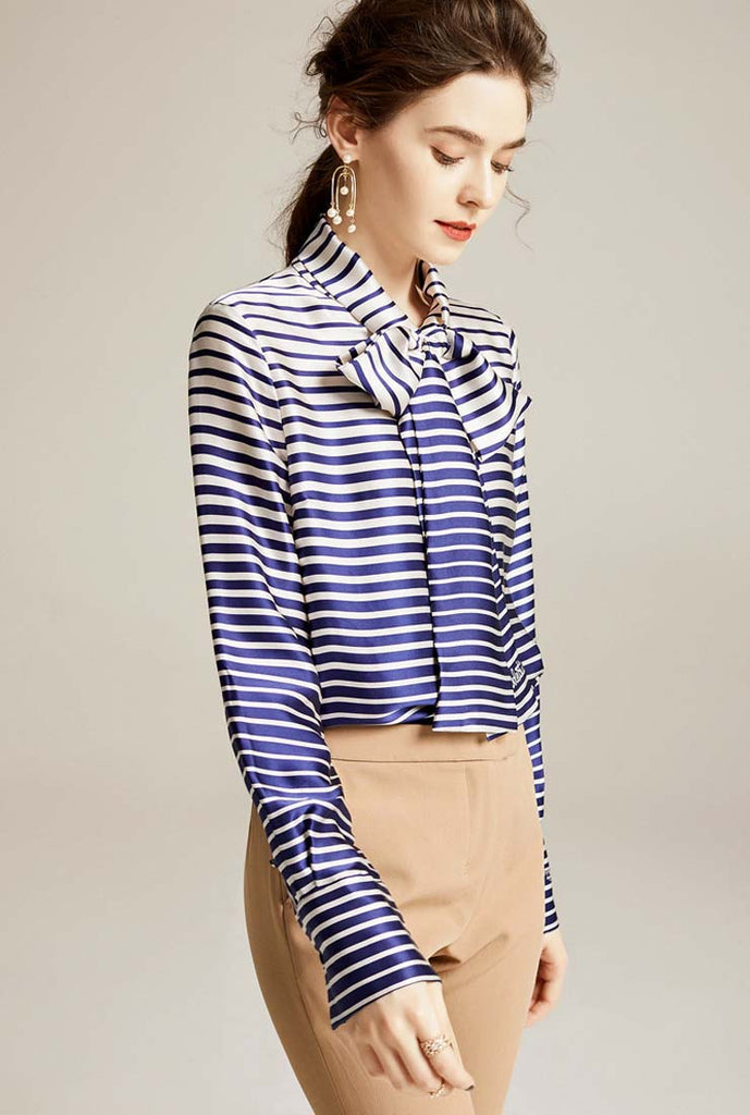 100% Silk Striped Bow Tie Long Sleeves Blouse