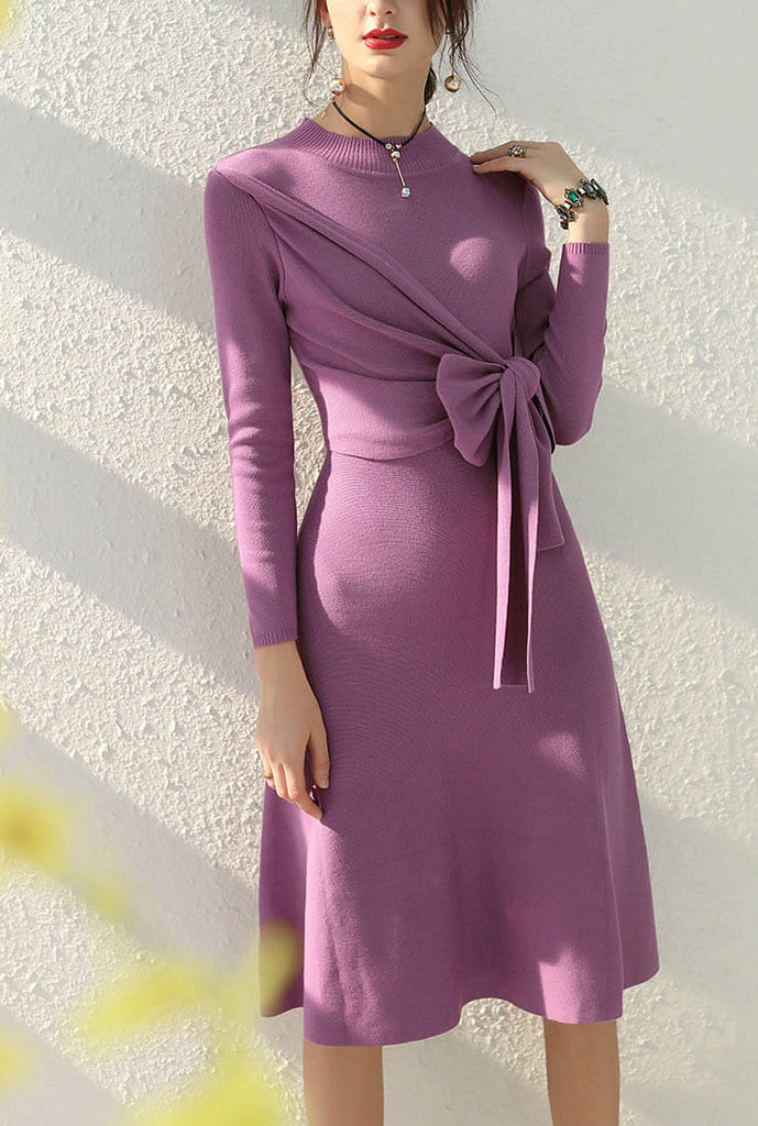 Solid Color High Waist Knit Belted Midi Dress