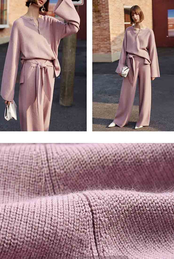 Wool Blend Knit Wide Leg Straight Pants
