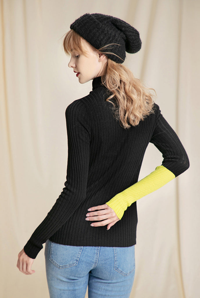 Solid Color Simple Turtleneck Knit Sweater