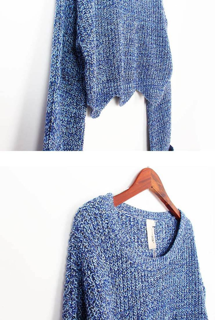 Solid Color Long Sleeve Wool Pullover Knit Sweater