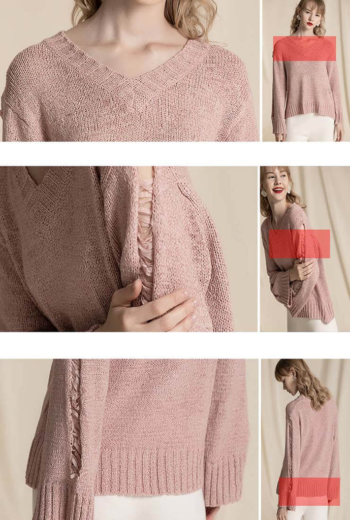 V-neck Hollow Out Knit Loose Top Sweater