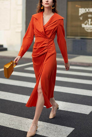 2019 New Side Slit V-neck Maxi Shirt Dress