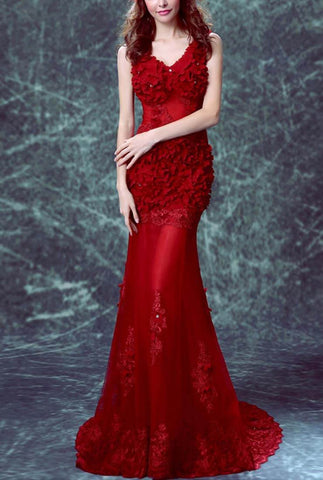 Sexy V-neck Backless Fishtail Red Prom Dress