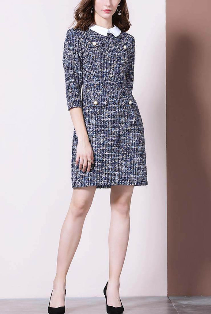 Women's Slim Lapel Collar Tweed Shirt Dress