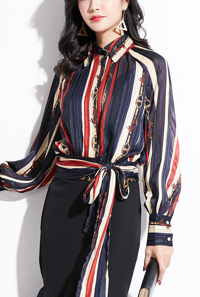 Striped Printed Long Sleeve Chiffon Shirt