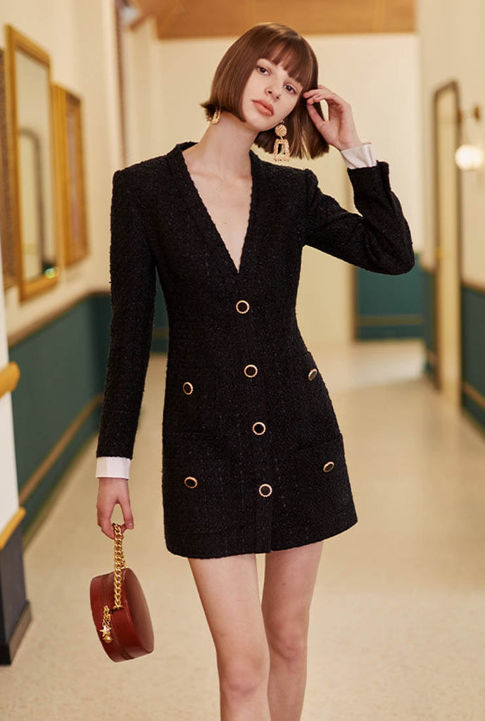 Spring/Autumn Tweed Business Shirt Dress