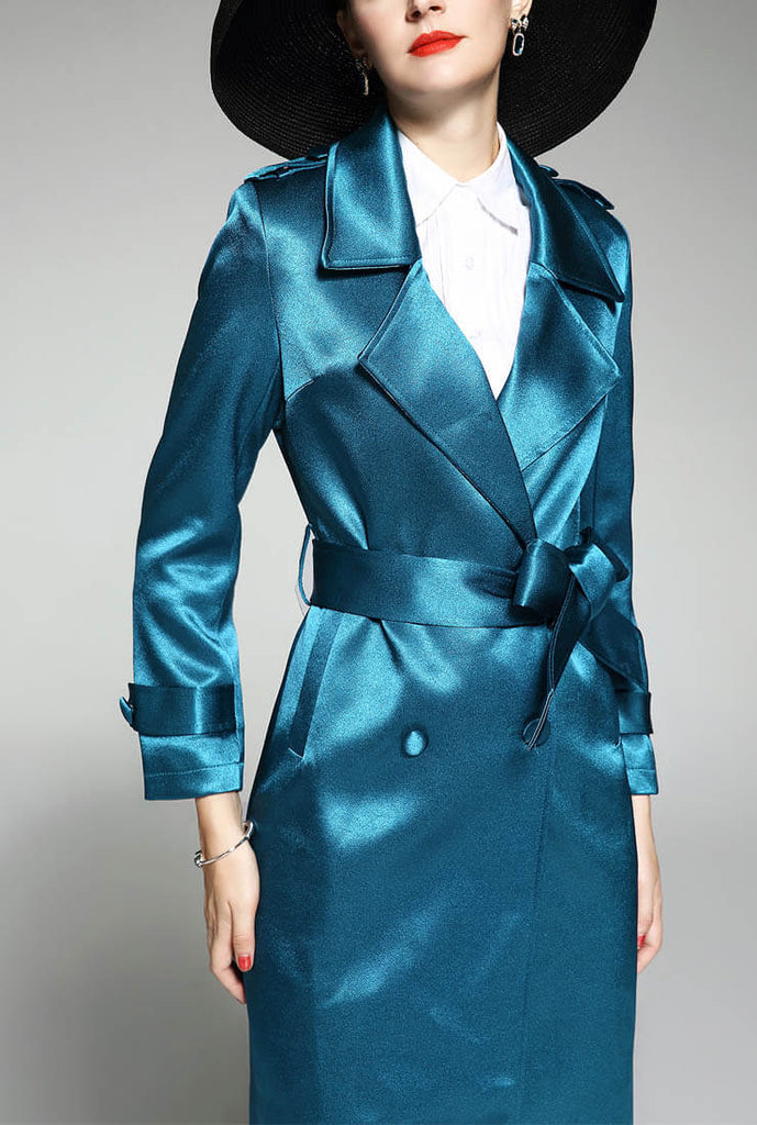 Women Slim Belted Satin Trench Coat