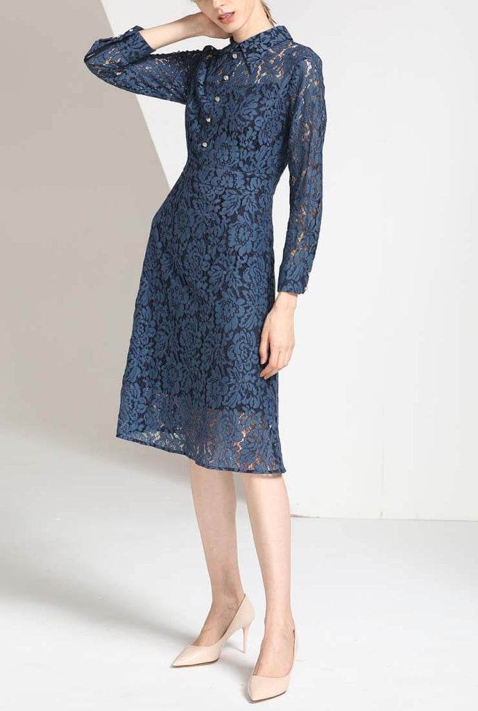 Solid Color Hollow Out Lace A-line Midi Dress