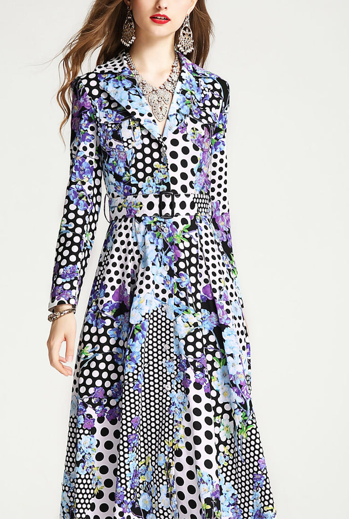 Retro Printed Cinched-Waist Trench Coat Dress