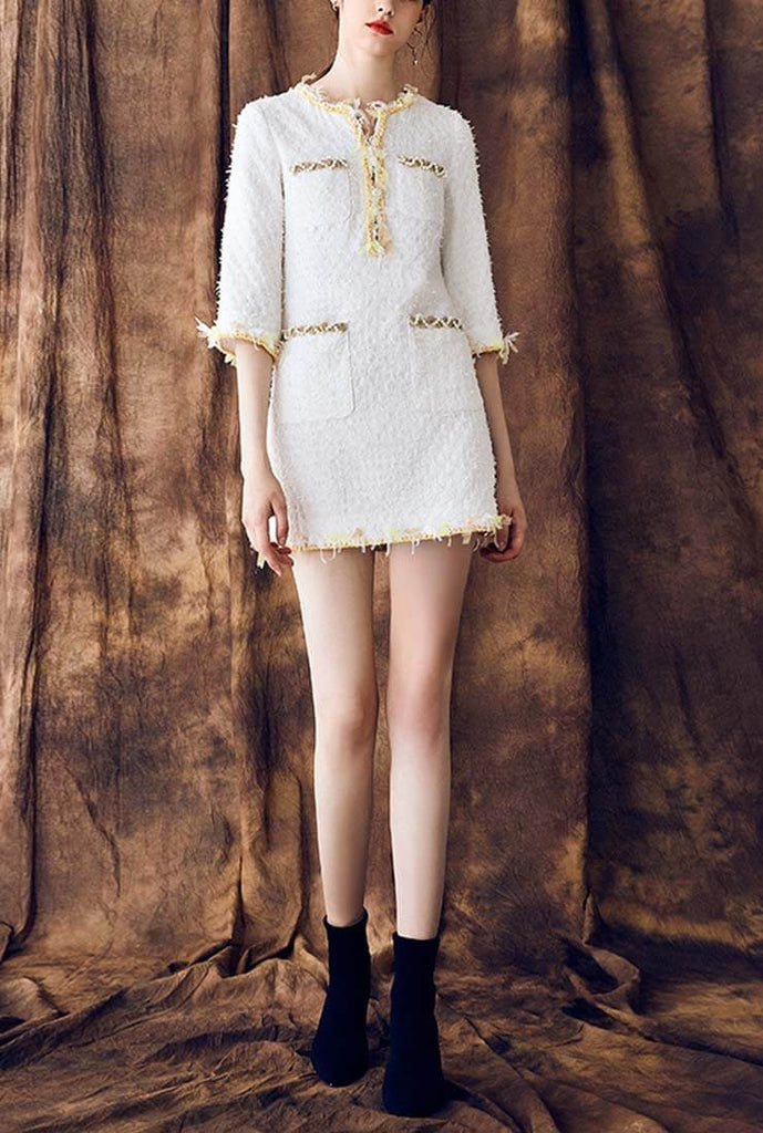 Front Pockets White Tweed Slim Shirt Dress