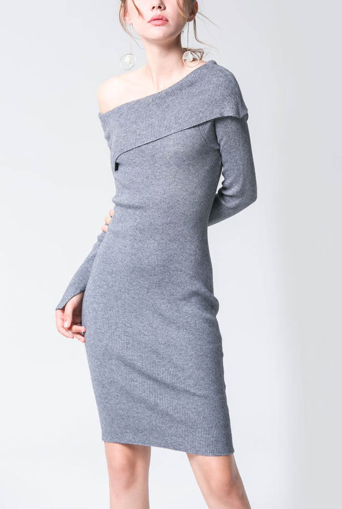 Solid Color One Shoulder Slim Sweater Dress