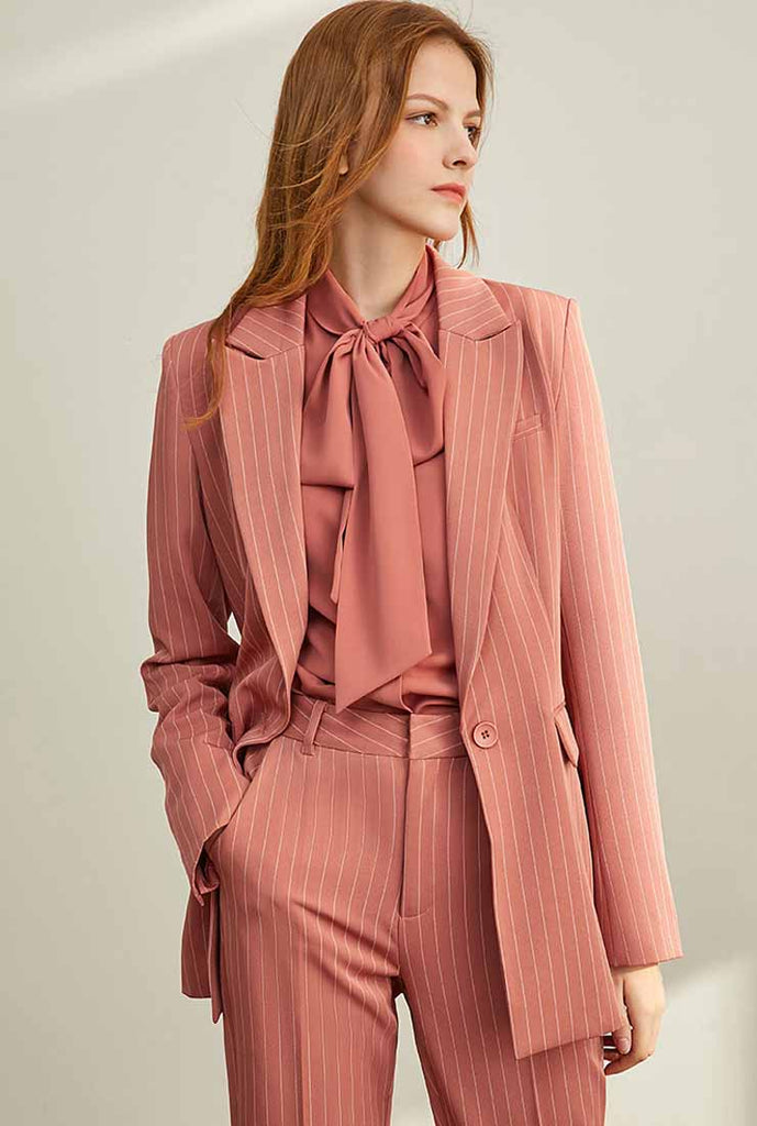 2019 Autumn Slim Striped Blazer Suit