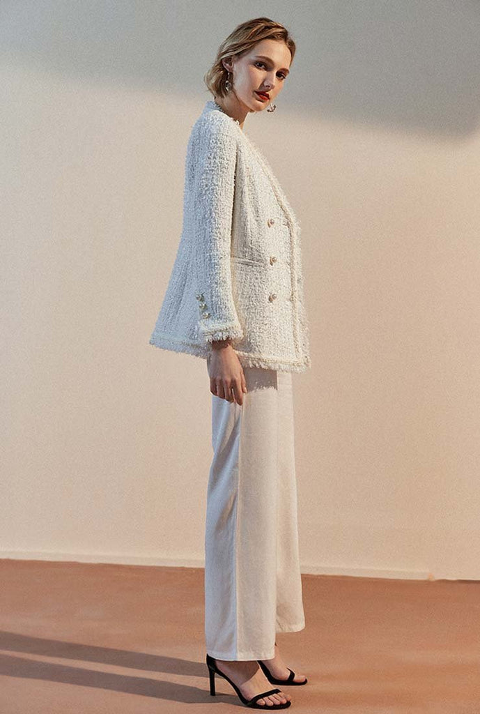 2019 Autumn Tassel White Tweed Blazer