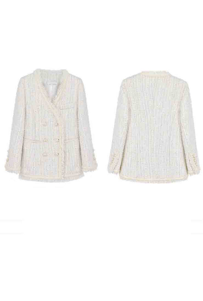 2019 Autumn Tassel White Tweed Chanel Blazer&Jacket