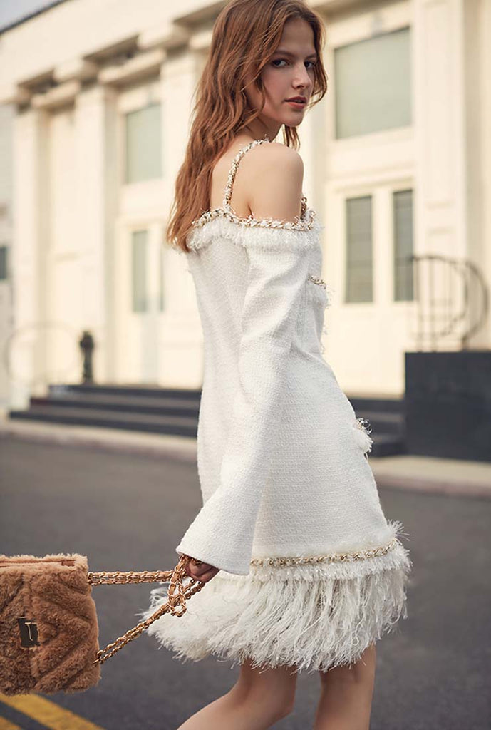 2019 New Classic Tassel Halter Mini Dress