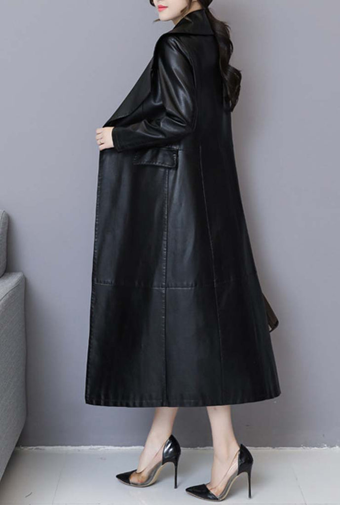 2019 Vintage Black Leather Trench Long Coat