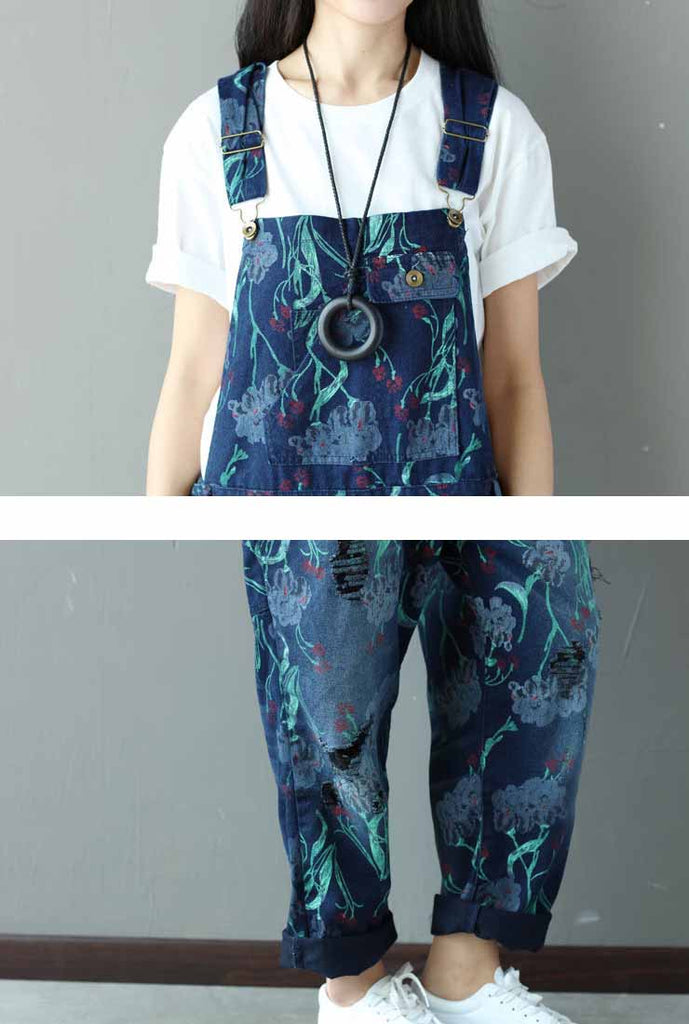 2020 Loose-Fit Floral Distressed Denim Overalls