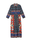 2020 Spring Ethnic Print Lapel Maxi Shift Dress