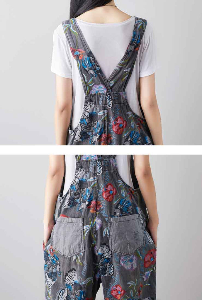 2020 Spring Loose-Fit Floral Print Wide-Leg Overalls