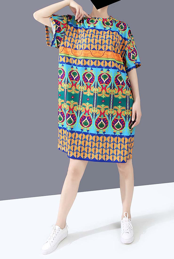 2020 Summer Printed Loose-Fit Shift Dress