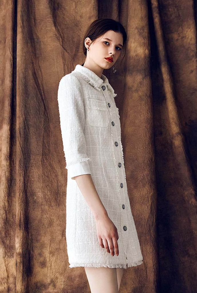 Tweed Single-breasted Lapel Formal Shirt Dress