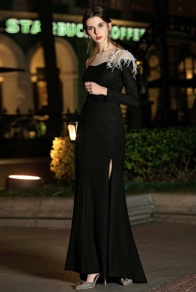 Feather Decoration Black Long Prom Dress