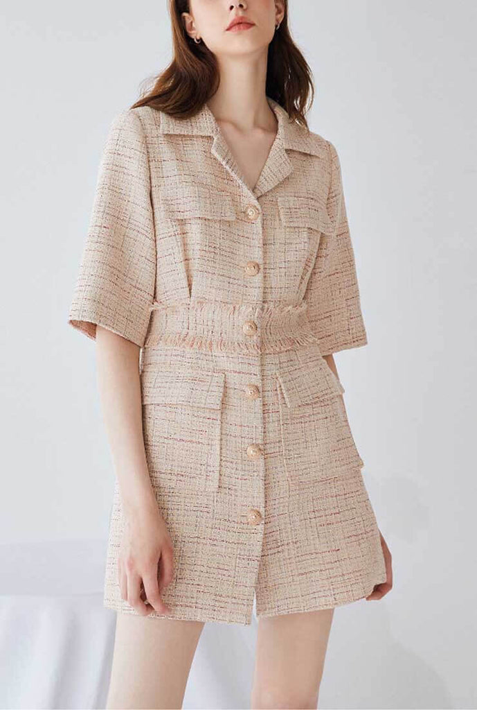 Lapel Collar Waist Slim A-line Shirt Dress