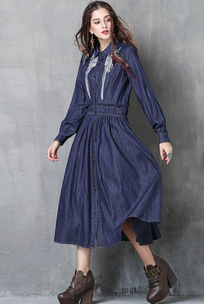 Long Sleeved Embroidery Denim Shirt Dress