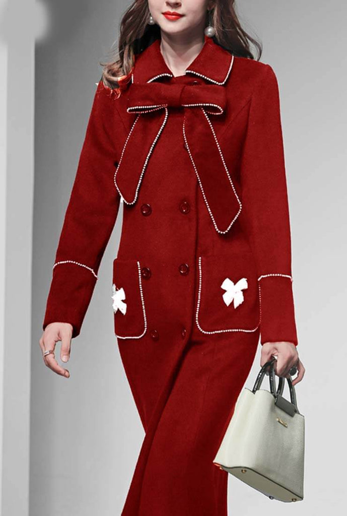 Women's Red Christmas Season Wool Blend Coat