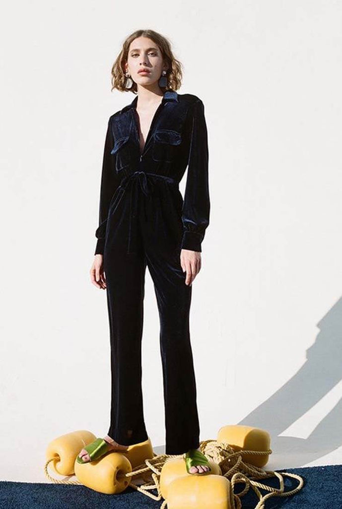 Vintage Velvet Lapel Collar Wide Leg Jumpsuit