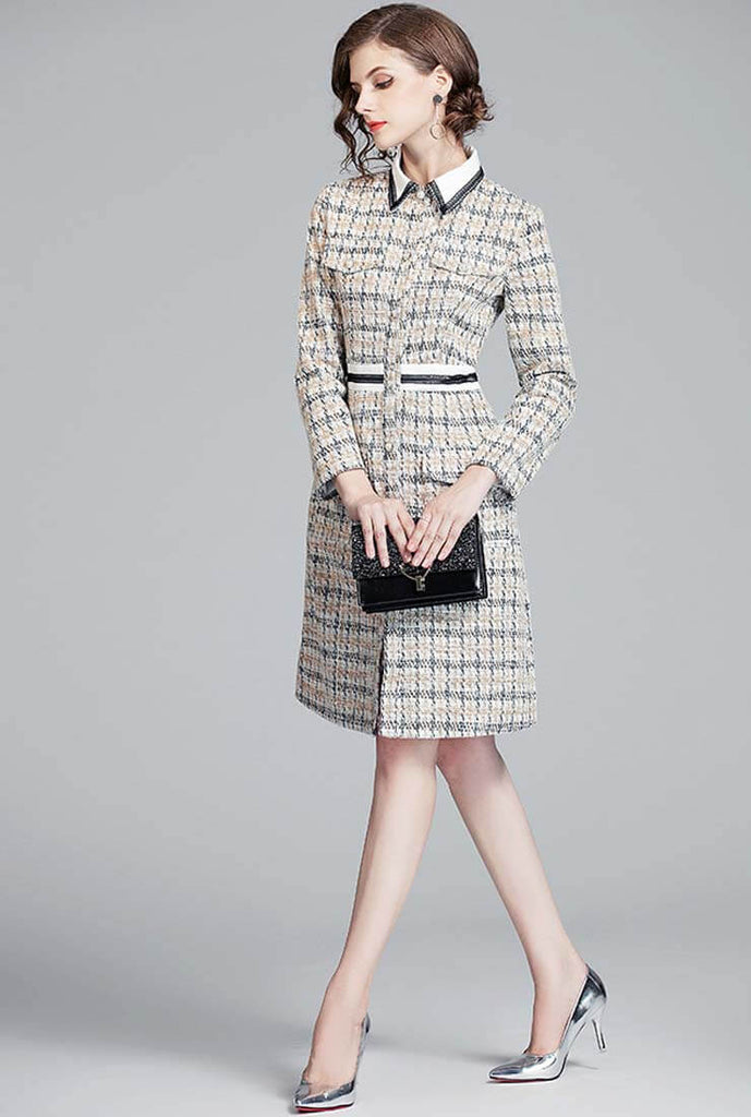 High Waist Tweed Plaid Shirt Dress