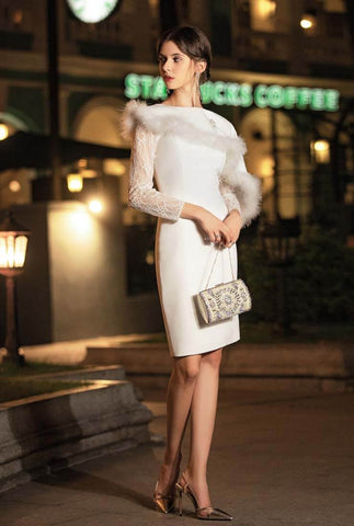 Fur Decoration White Midi Cocktail Dress