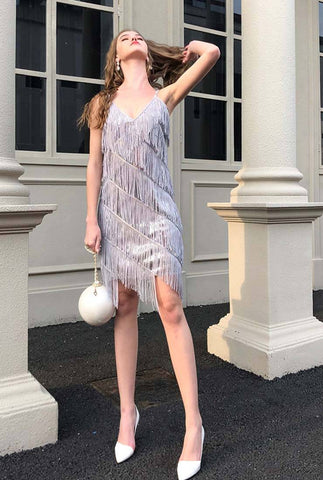 Silver Sequined Tassels Halter Midi Cocktail Dress