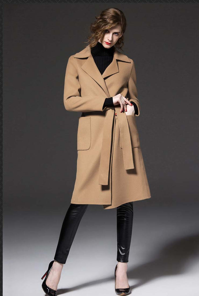 Women's Plus Size Wool Blend Belted Trench Coat
