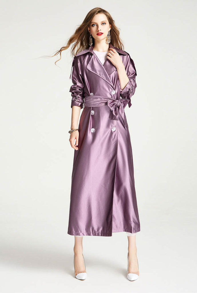 London Fog Satin Double-breasted Long Trench Coat