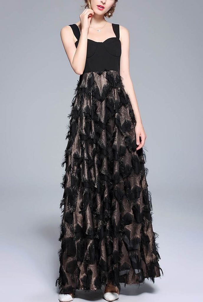 Fringed Feather Patchwork Suspender Maxi Dress