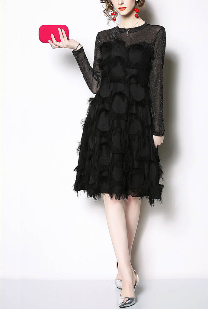 Long Sleeved Fringed Feather A-line Midi Dress