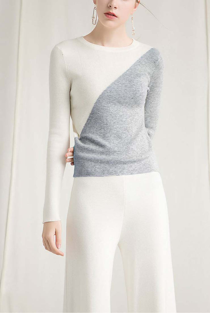 Contrast Color Pullover Knit Layering Top