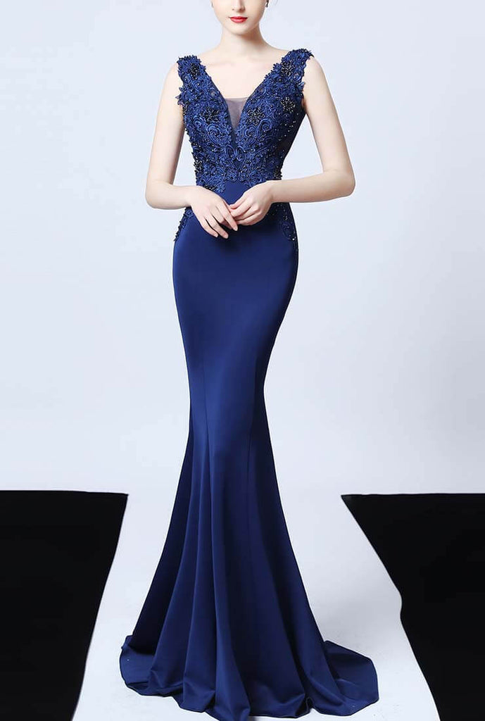 Sexy V-neck Lace Embroidered Satin Prom Dress