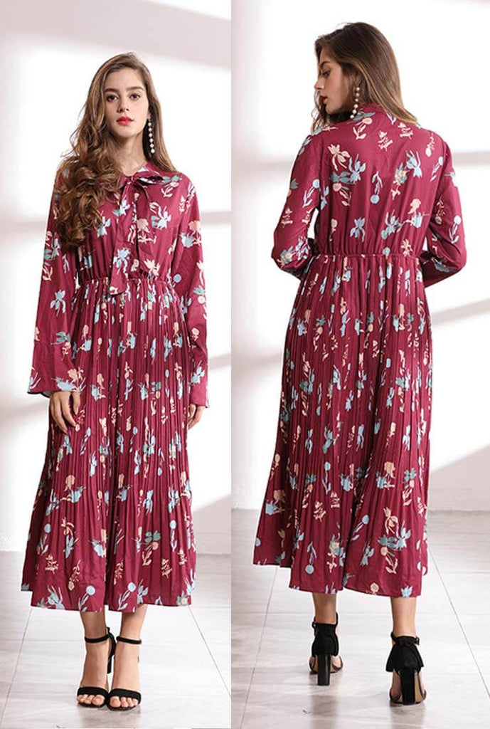 Long Sleeves High Waist Floral Print Pleated Dress